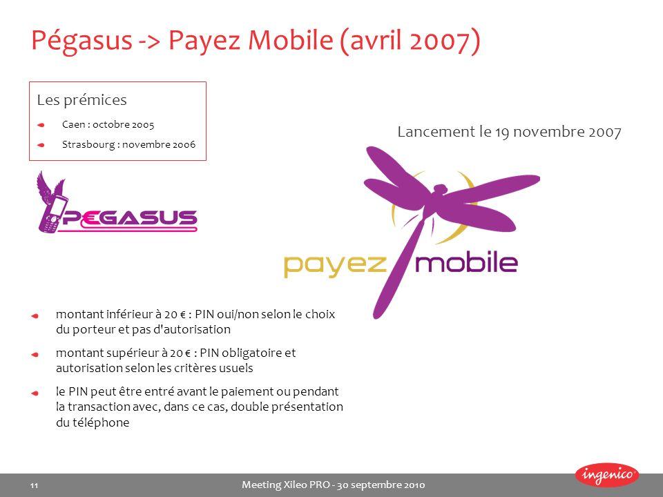 11 Meeting Xileo PRO - 30 septembre 2010 Pégasus -> Payez Mobile (avril 2007) montant inférieur à 20 : PIN oui/non selon le choix du porteur et pas d'