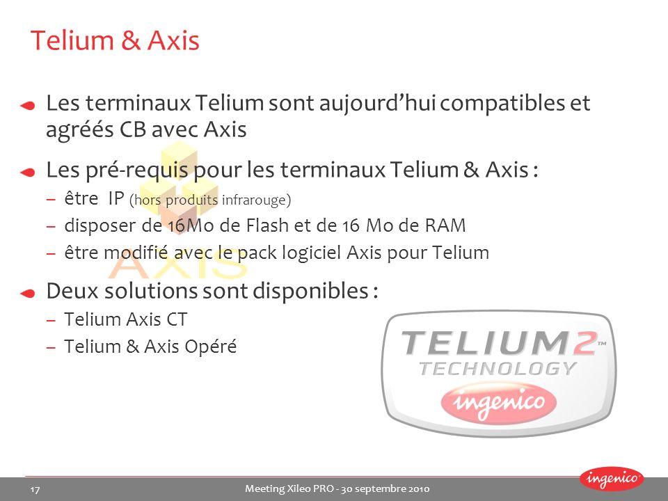 17 Meeting Xileo PRO - 30 septembre 2010 Les terminaux Telium sont aujourdhui compatibles et agréés CB avec Axis Les pré-requis pour les terminaux Tel