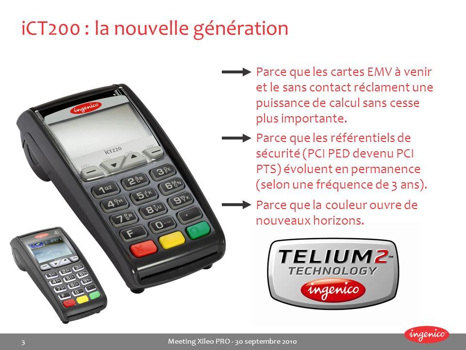 3 Meeting Xileo PRO - 30 septembre 2010 iCT200 : la nouvelle génération Parce que les cartes EMV à venir et le sans contact réclament une puissance de