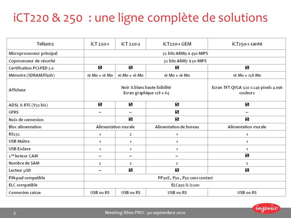 5 Meeting Xileo PRO - 30 septembre 2010 iCT220 & 250 : une ligne complète de solutions