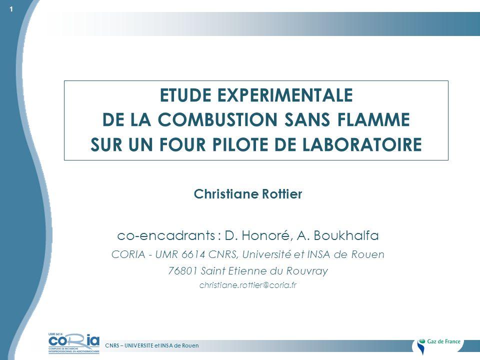 CNRS – UNIVERSITE et INSA de Rouen 1 Christiane Rottier co-encadrants : D. Honoré, A. Boukhalfa CORIA - UMR 6614 CNRS, Université et INSA de Rouen 768