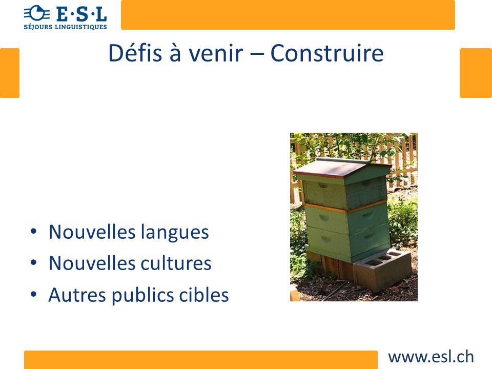 www.esl.ch Défis à venir – Construire Nouvelles langues Nouvelles cultures Autres publics cibles