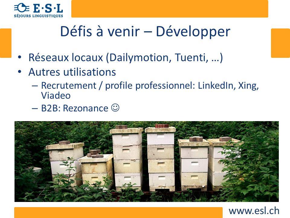 www.esl.ch Défis à venir – Développer Réseaux locaux (Dailymotion, Tuenti, …) Autres utilisations – Recrutement / profile professionnel: LinkedIn, Xin