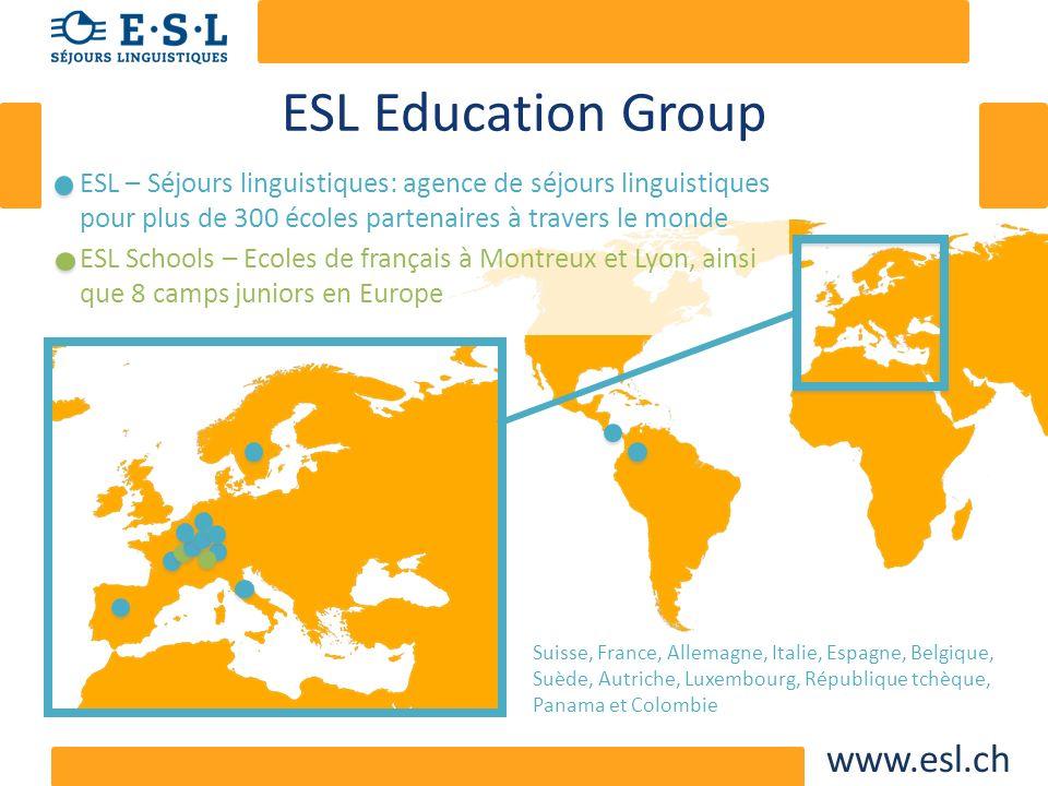 www.esl.ch ESL – Séjours linguistiques Des produits ciblés aux différents groupes dâges – Juniors: enfants de 8 à 16 ans – Adultes – 50+ Des produits ciblés aux différents besoins – GAP year – Business
