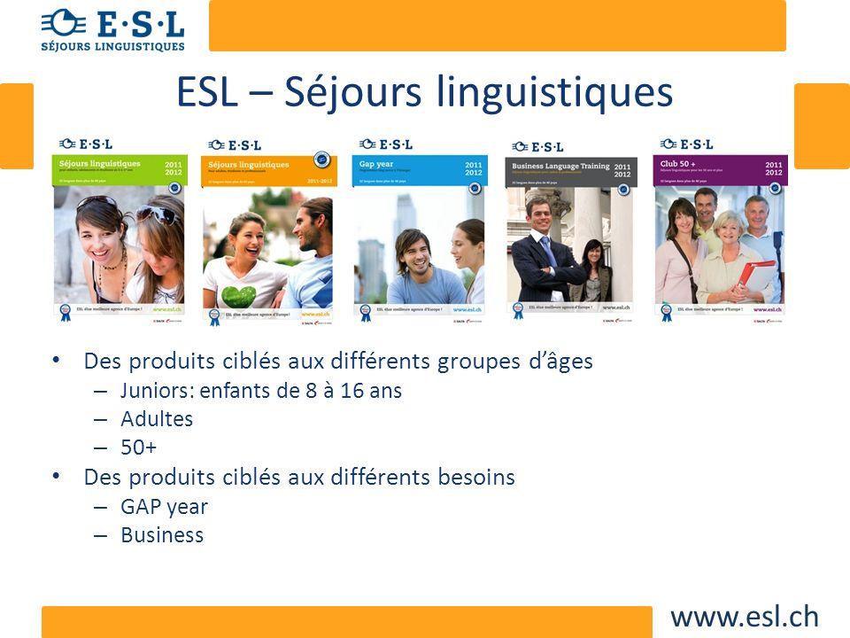 www.esl.ch ESL – Séjours linguistiques Des produits ciblés aux différents groupes dâges – Juniors: enfants de 8 à 16 ans – Adultes – 50+ Des produits