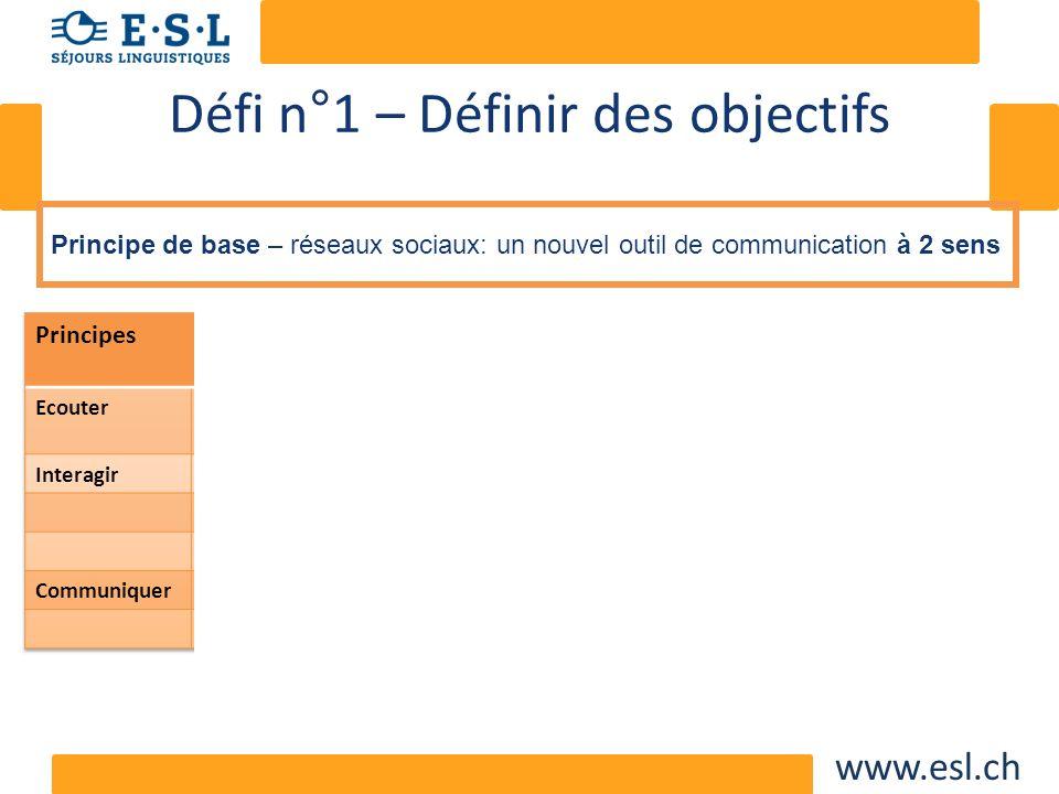 www.esl.ch Défi n°1 – Définir des objectifs Principe de base – réseaux sociaux: un nouvel outil de communication à 2 sens
