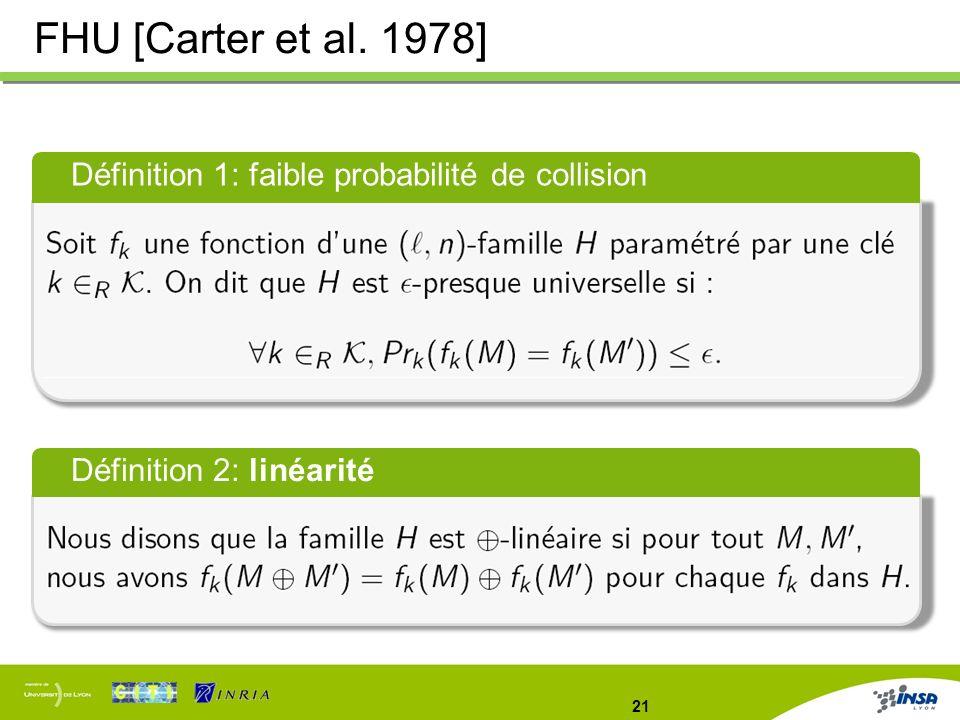 21 FHU [Carter et al. 1978] Définition 1: faible probabilité de collision Définition 2: linéarité