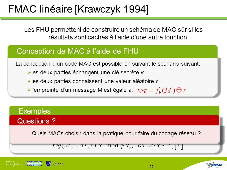 22 FMAC linéaire [Krawczyk 1994] Les FHU permettent de construire un schéma de MAC sûr si les résultats sont cachés à laide dune autre fonction Concep