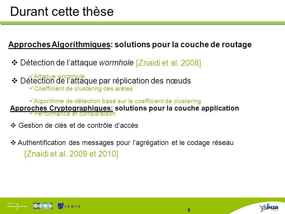 6 Approches Algorithmiques: solutions pour la couche de routage Détection de lattaque wormhole Détection de lattaque par réplication des nœuds Durant