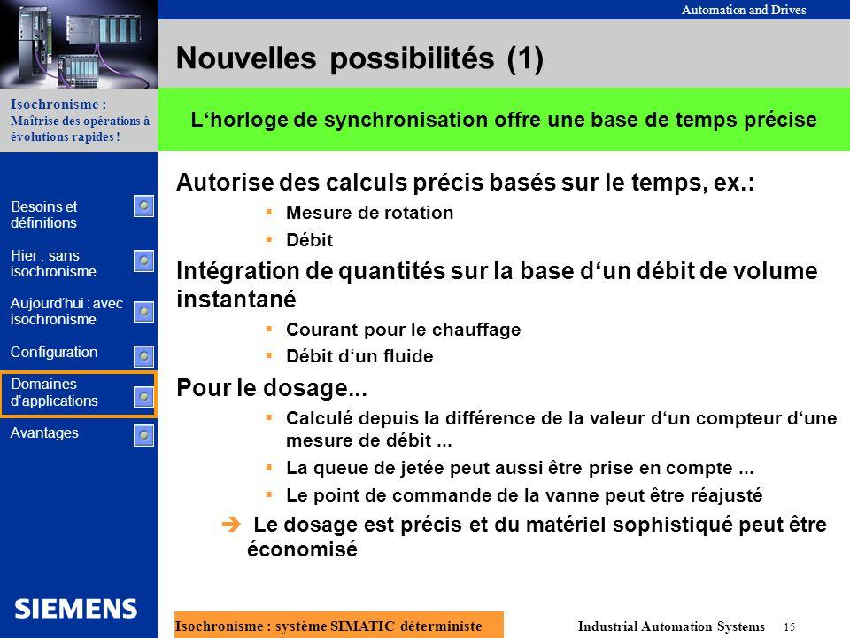 Automation and Drives Industrial Automation Systems 15 Isochronisme : système SIMATIC déterministe Isochronisme : Maîtrise des opérations à évolutions rapides .