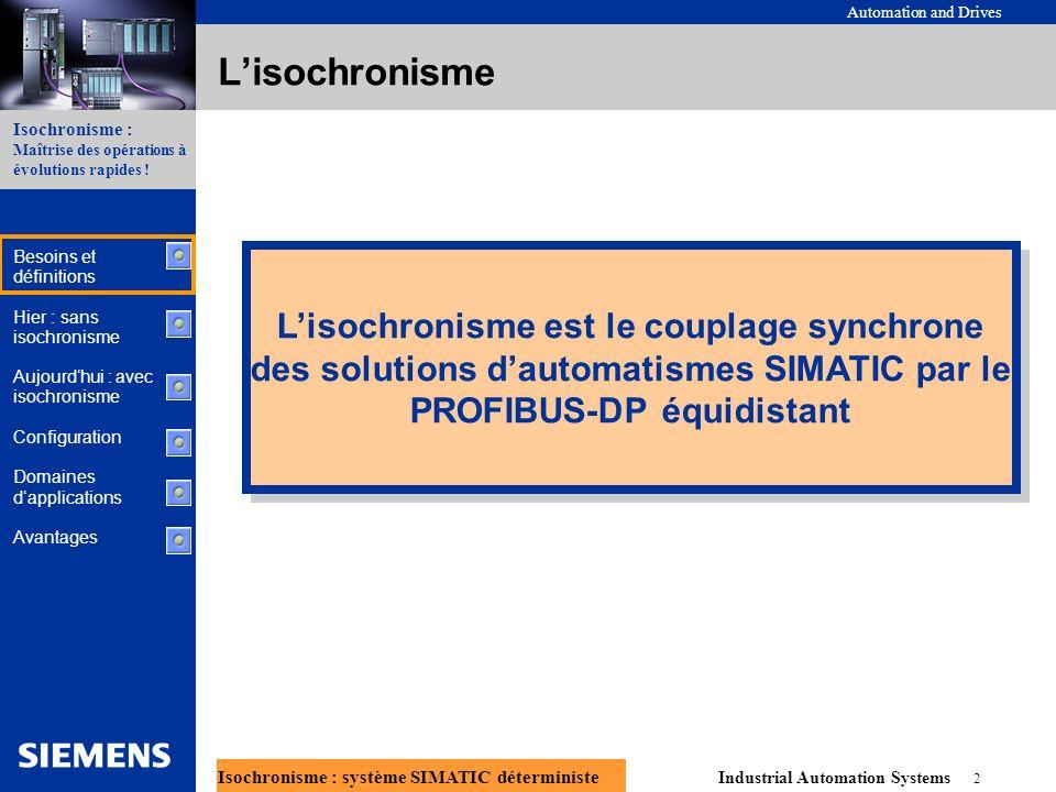 Automation and Drives Industrial Automation Systems 13 Isochronisme : système SIMATIC déterministe Isochronisme : Maîtrise des opérations à évolutions rapides .