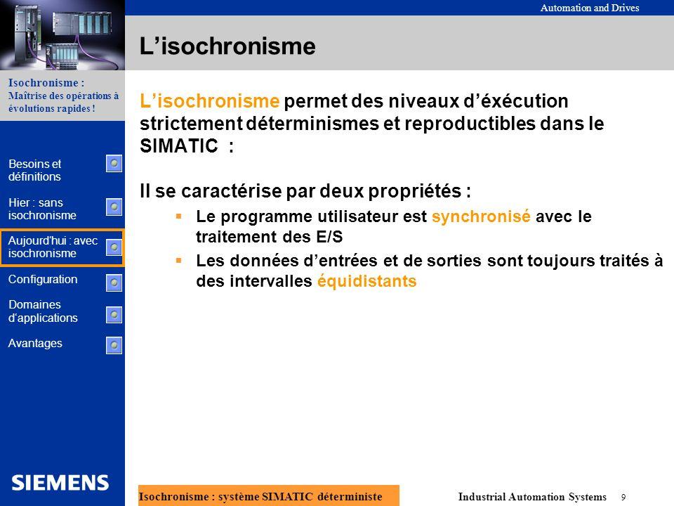Automation and Drives Industrial Automation Systems 10 Isochronisme : système SIMATIC déterministe Isochronisme : Maîtrise des opérations à évolutions rapides .