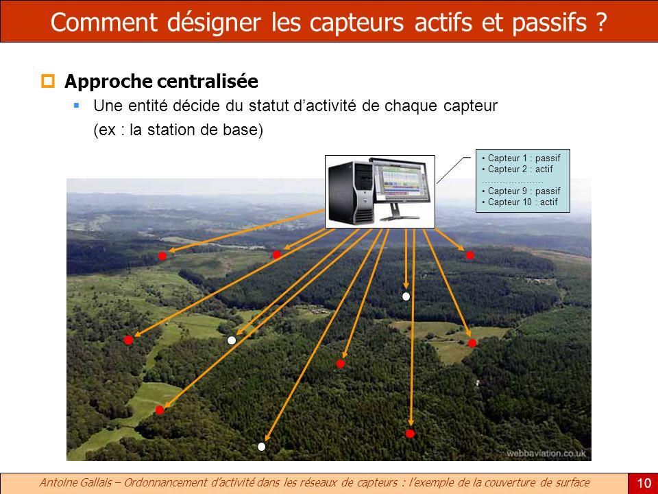 Antoine Gallais – Ordonnancement dactivité dans les réseaux de capteurs : lexemple de la couverture de surface 10 Comment désigner les capteurs actifs et passifs .