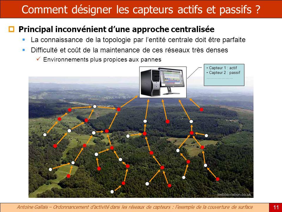 Antoine Gallais – Ordonnancement dactivité dans les réseaux de capteurs : lexemple de la couverture de surface 11 Comment désigner les capteurs actifs et passifs .