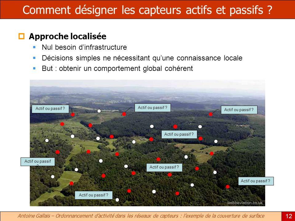 Antoine Gallais – Ordonnancement dactivité dans les réseaux de capteurs : lexemple de la couverture de surface 12 Comment désigner les capteurs actifs