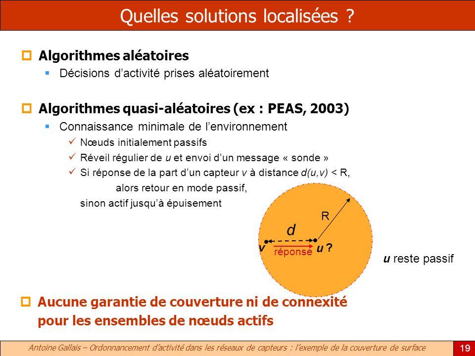 Antoine Gallais – Ordonnancement dactivité dans les réseaux de capteurs : lexemple de la couverture de surface 19 Aucune garantie de couverture ni de connexité pour les ensembles de nœuds actifs Quelles solutions localisées .