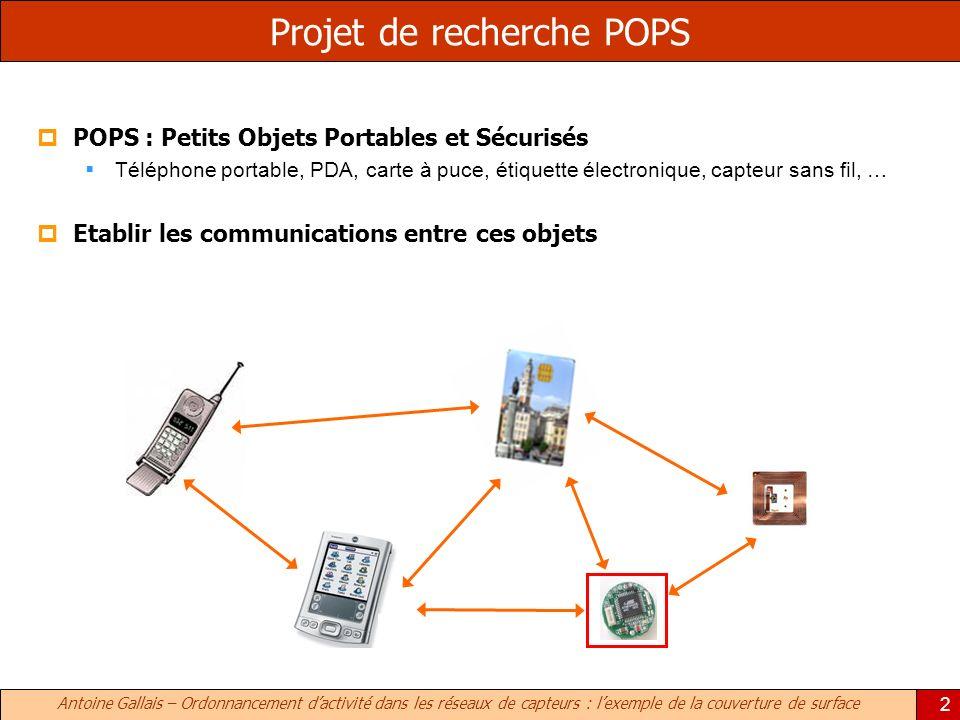 Antoine Gallais – Ordonnancement dactivité dans les réseaux de capteurs : lexemple de la couverture de surface 2 Projet de recherche POPS POPS : Petit