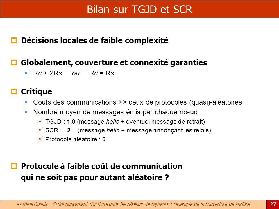 Antoine Gallais – Ordonnancement dactivité dans les réseaux de capteurs : lexemple de la couverture de surface 27 Bilan sur TGJD et SCR Décisions locales de faible complexité Globalement, couverture et connexité garanties Rc > 2Rs ou Rc = Rs Critique Coûts des communications >> ceux de protocoles (quasi)-aléatoires Nombre moyen de messages émis par chaque nœud TGJD : 1.9 (message hello + éventuel message de retrait) SCR : 2 (message hello + message annonçant les relais) Protocole aléatoire : 0 Protocole à faible coût de communication qui ne soit pas pour autant aléatoire ?
