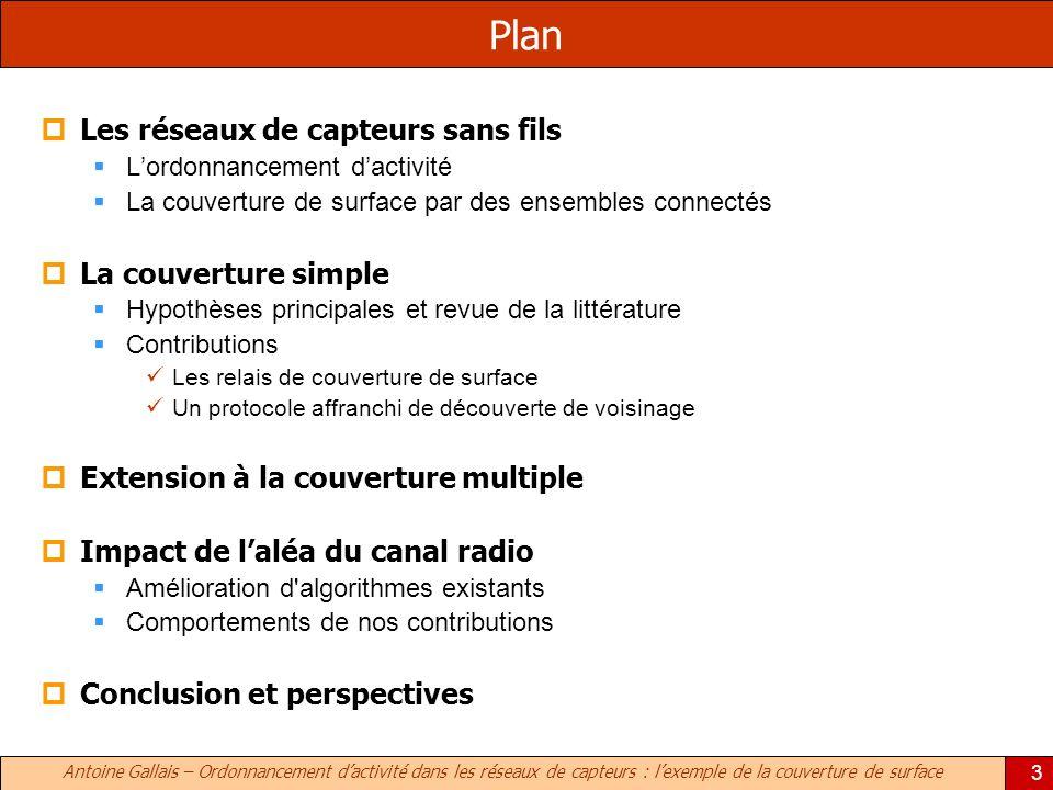 Antoine Gallais – Ordonnancement dactivité dans les réseaux de capteurs : lexemple de la couverture de surface 3 Plan Les réseaux de capteurs sans fil