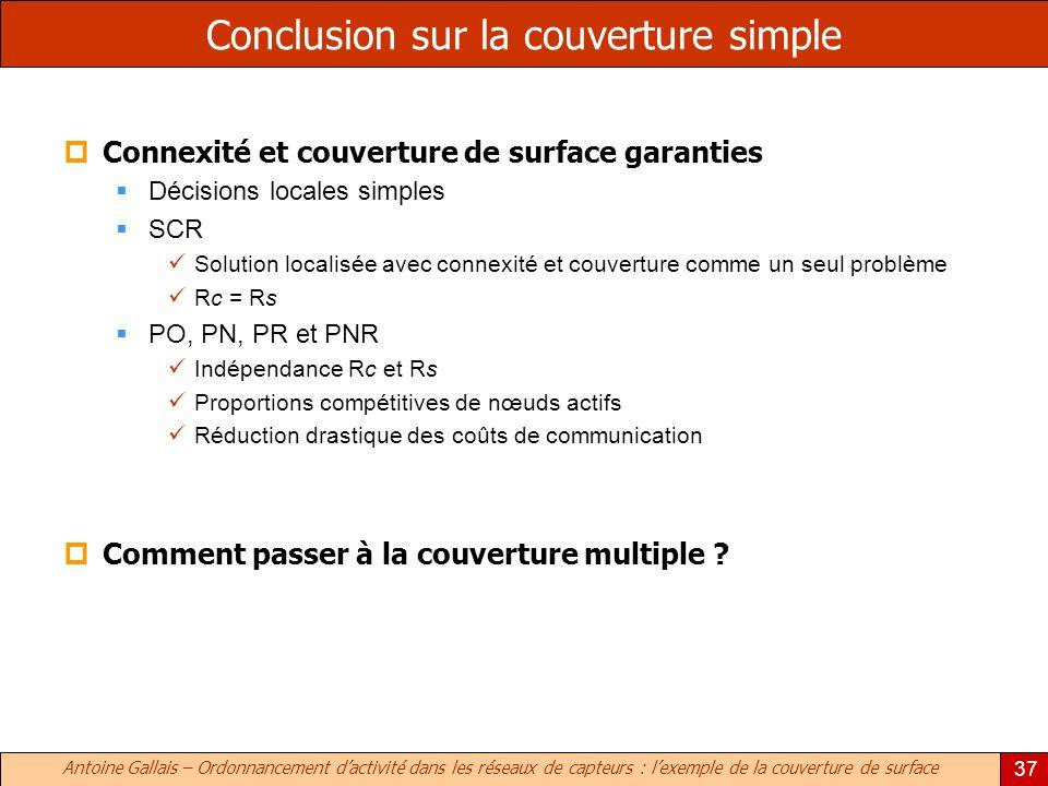 Antoine Gallais – Ordonnancement dactivité dans les réseaux de capteurs : lexemple de la couverture de surface 37 Conclusion sur la couverture simple
