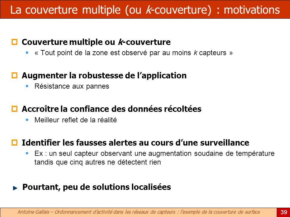 Antoine Gallais – Ordonnancement dactivité dans les réseaux de capteurs : lexemple de la couverture de surface 39 La couverture multiple (ou k-couvert