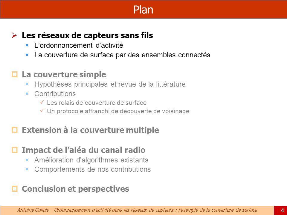 Antoine Gallais – Ordonnancement dactivité dans les réseaux de capteurs : lexemple de la couverture de surface 4 Plan Les réseaux de capteurs sans fil