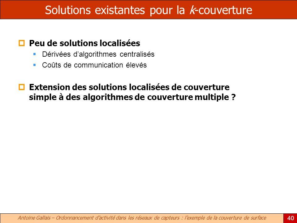 Antoine Gallais – Ordonnancement dactivité dans les réseaux de capteurs : lexemple de la couverture de surface 40 Solutions existantes pour la k-couve