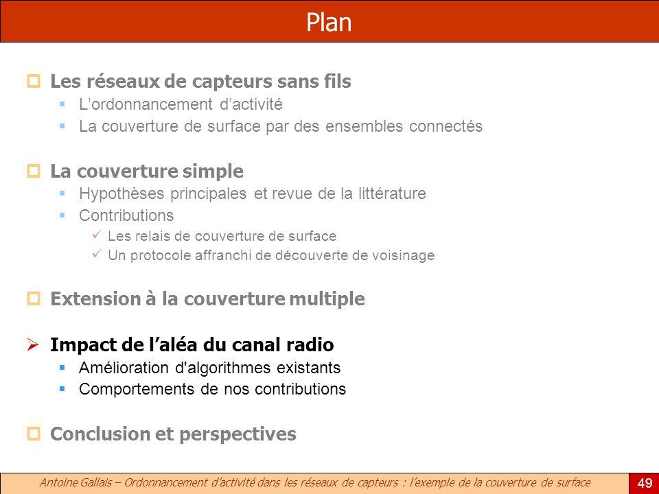 Antoine Gallais – Ordonnancement dactivité dans les réseaux de capteurs : lexemple de la couverture de surface 49 Plan Les réseaux de capteurs sans fi