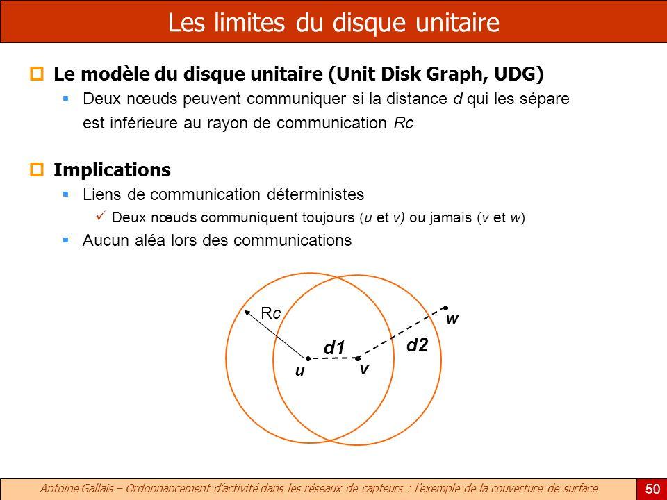 Antoine Gallais – Ordonnancement dactivité dans les réseaux de capteurs : lexemple de la couverture de surface 50 Les limites du disque unitaire Le modèle du disque unitaire (Unit Disk Graph, UDG) Deux nœuds peuvent communiquer si la distance d qui les sépare est inférieure au rayon de communication Rc Implications Liens de communication déterministes Deux nœuds communiquent toujours (u et v) ou jamais (v et w) Aucun aléa lors des communications u v d1 RcRc w d2