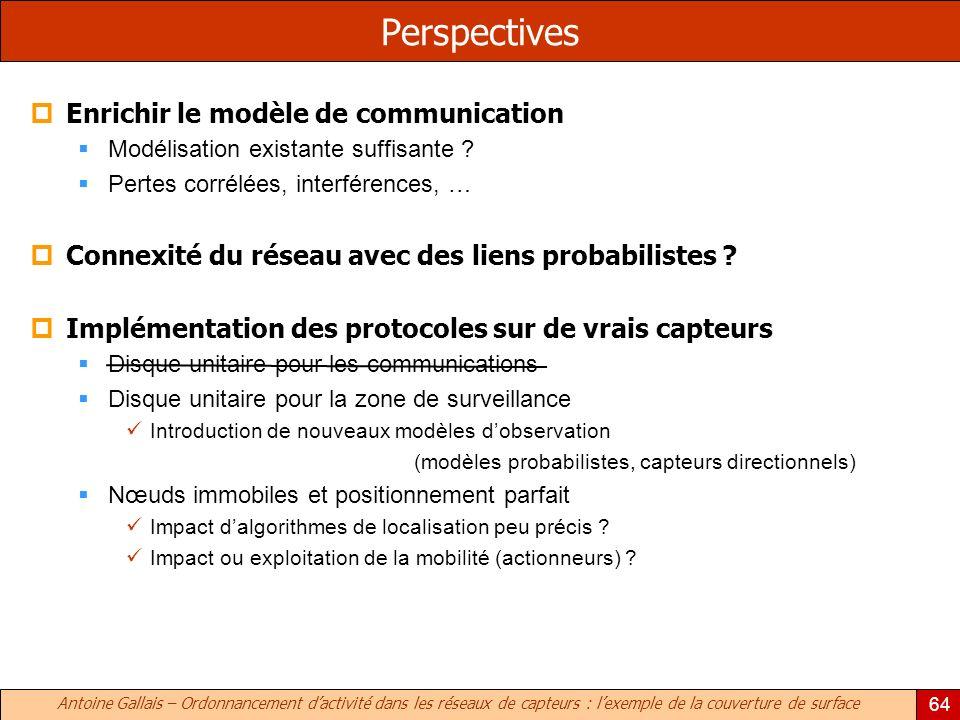 Antoine Gallais – Ordonnancement dactivité dans les réseaux de capteurs : lexemple de la couverture de surface 64 Perspectives Enrichir le modèle de communication Modélisation existante suffisante .