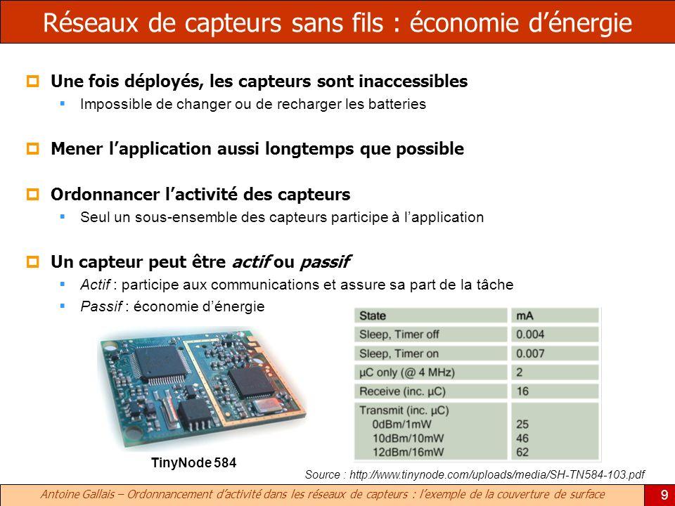 Antoine Gallais – Ordonnancement dactivité dans les réseaux de capteurs : lexemple de la couverture de surface 9 Réseaux de capteurs sans fils : écono