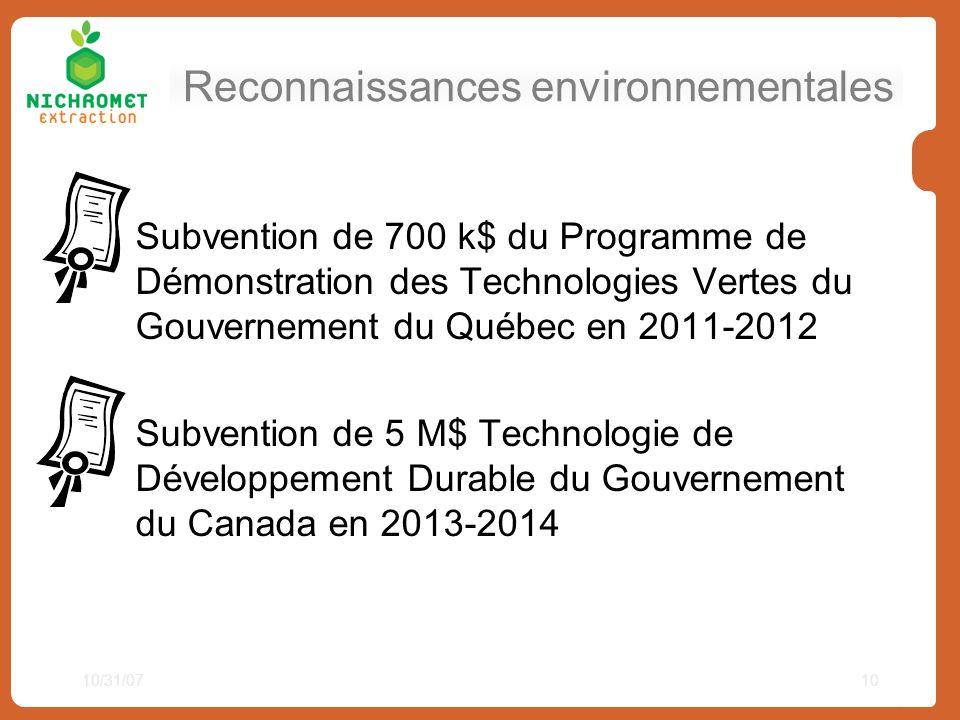 Reconnaissances environnementales Subvention de 700 k$ du Programme de Démonstration des Technologies Vertes du Gouvernement du Québec en 2011-2012 Su