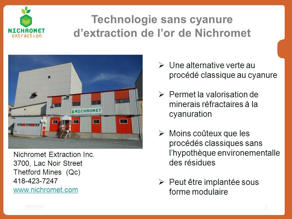 10/31/072 Technologie sans cyanure dextraction de lor de Nichromet Nichromet Extraction Inc. 3700, Lac Noir Street Thetford Mines (Qc) 418-423-7247 ww