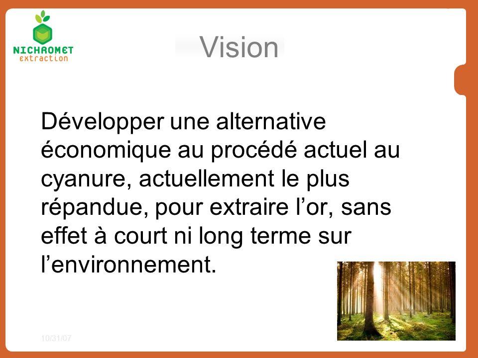 Vision Développer une alternative économique au procédé actuel au cyanure, actuellement le plus répandue, pour extraire lor, sans effet à court ni lon
