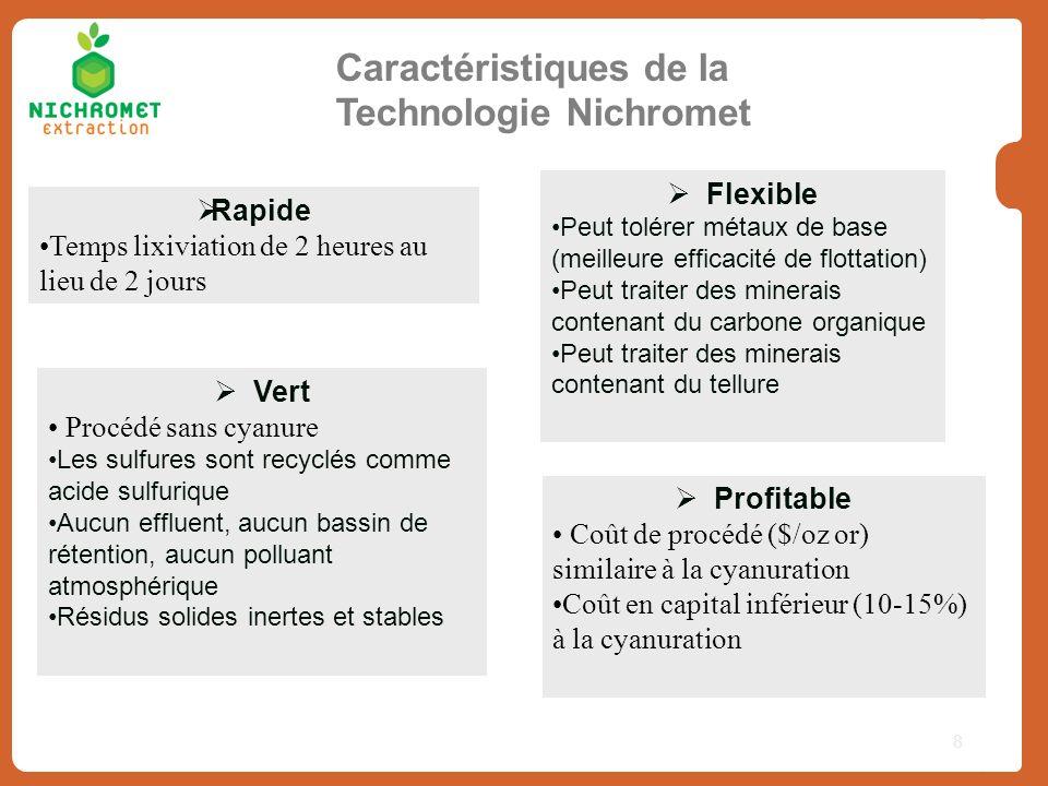 8 Caractéristiques de la Technologie Nichromet Vert Procédé sans cyanure Les sulfures sont recyclés comme acide sulfurique Aucun effluent, aucun bassi