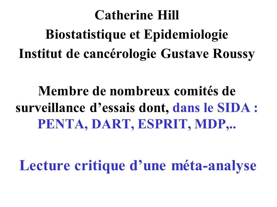 Lecture critique dune méta-analyse Catherine Hill Biostatistique et Epidemiologie Institut de cancérologie Gustave Roussy Membre de nombreux comités d
