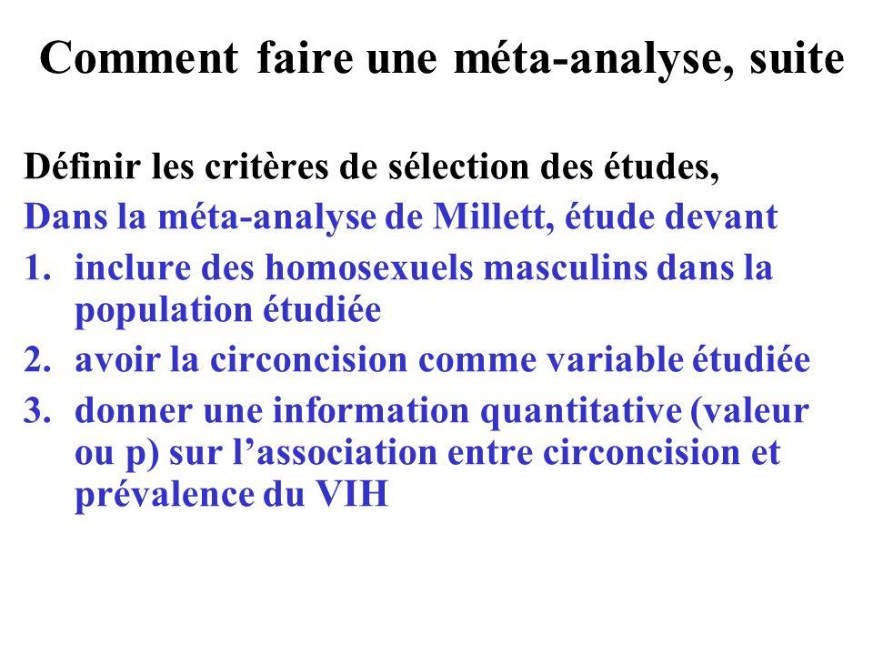 Comment faire une méta-analyse, suite Définir les critères de sélection des études, Dans la méta-analyse de Millett, étude devant 1. inclure des homos