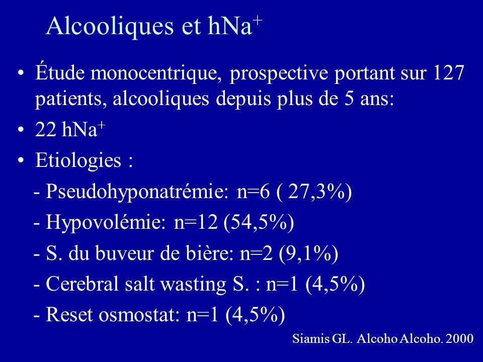 Alcooliques et hNa + Étude monocentrique, prospective portant sur 127 patients, alcooliques depuis plus de 5 ans: 22 hNa + Etiologies : - Pseudohypona