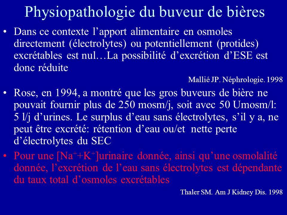 Physiopathologie du buveur de bières Dans ce contexte lapport alimentaire en osmoles directement (électrolytes) ou potentiellement (protides) excrétables est nul…La possibilité dexcrétion dESE est donc réduite Mallié JP.