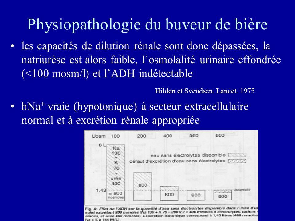 Physiopathologie du buveur de bière les capacités de dilution rénale sont donc dépassées, la natriurèse est alors faible, losmolalité urinaire effondrée (<100 mosm/l) et lADH indétectable Hilden et Svendsen.