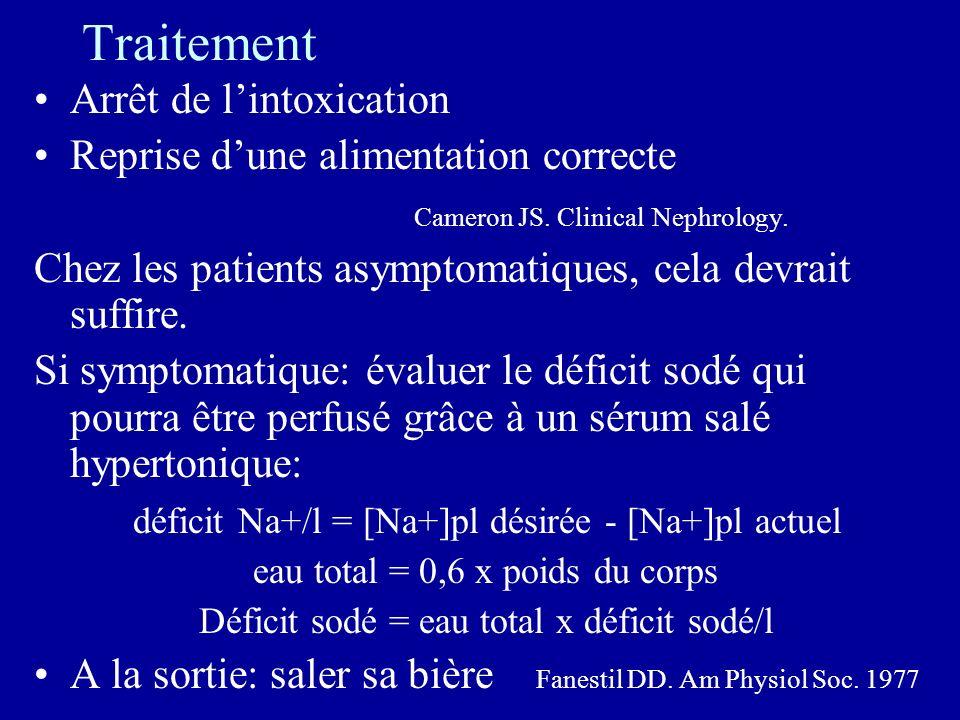 Traitement Arrêt de lintoxication Reprise dune alimentation correcte Cameron JS. Clinical Nephrology. Chez les patients asymptomatiques, cela devrait