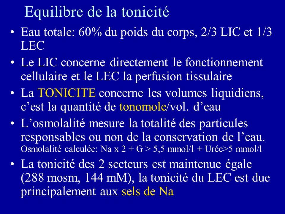 Equilibre de la tonicité Eau totale: 60% du poids du corps, 2/3 LIC et 1/3 LEC Le LIC concerne directement le fonctionnement cellulaire et le LEC la perfusion tissulaire La TONICITE concerne les volumes liquidiens, cest la quantité de tonomole/vol.