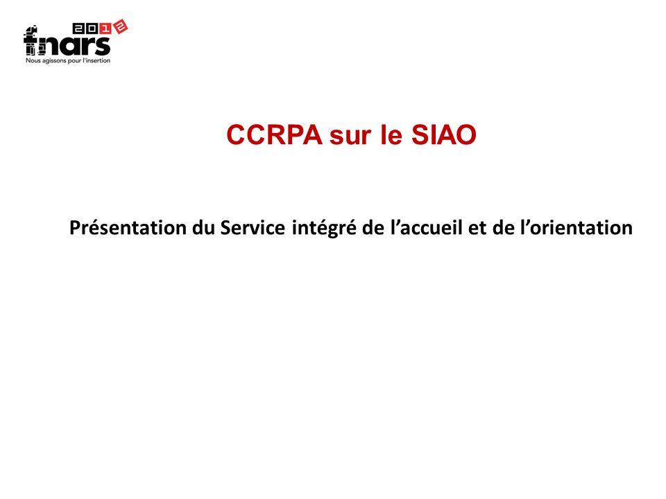 CCRPA sur le SIAO Présentation du Service intégré de laccueil et de lorientation
