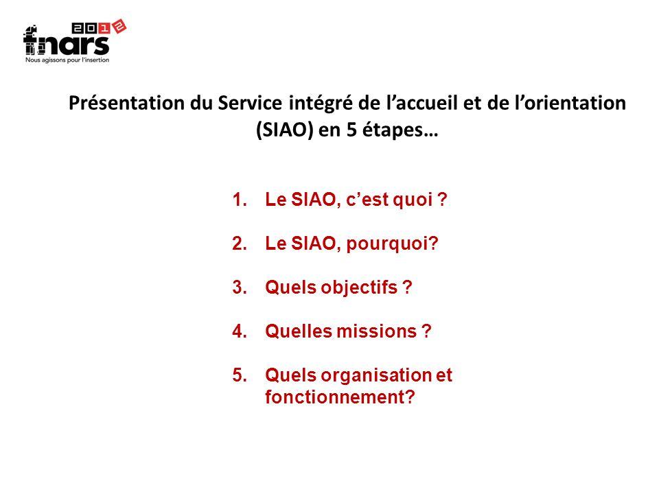 Présentation du Service intégré de laccueil et de lorientation (SIAO) en 5 étapes… 1.Le SIAO, cest quoi ? 2.Le SIAO, pourquoi? 3.Quels objectifs ? 4.Q