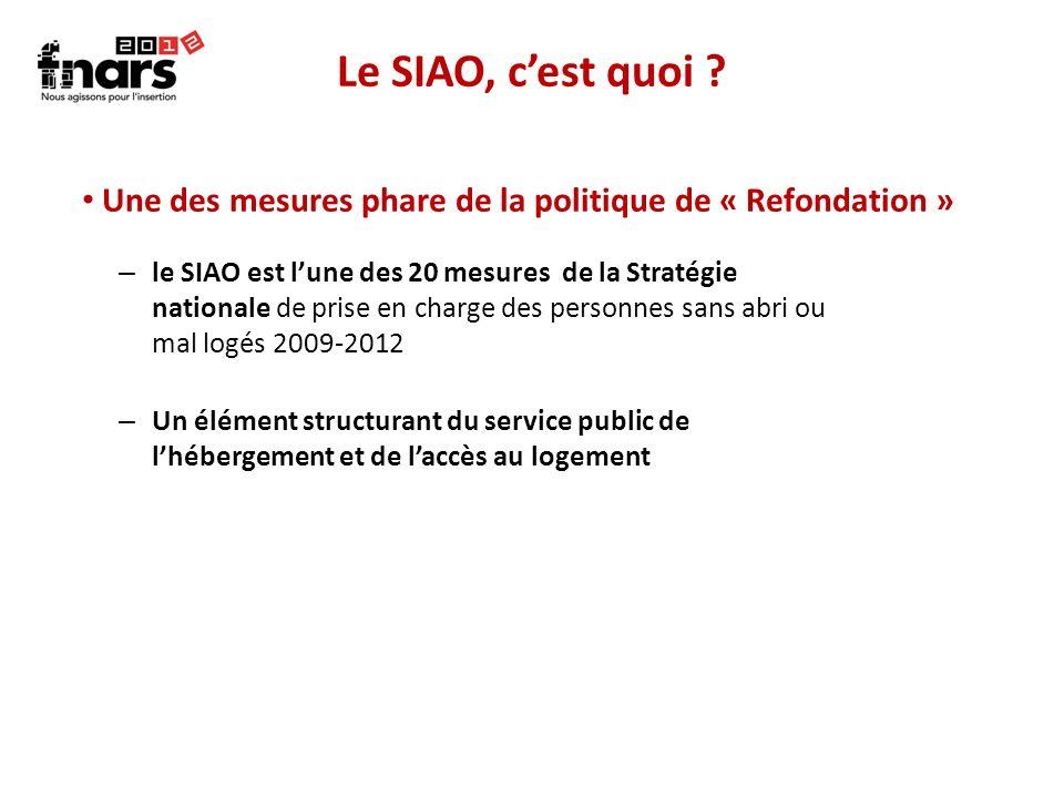 Le SIAO, cest quoi ? – le SIAO est lune des 20 mesures de la Stratégie nationale de prise en charge des personnes sans abri ou mal logés 2009-2012 – U