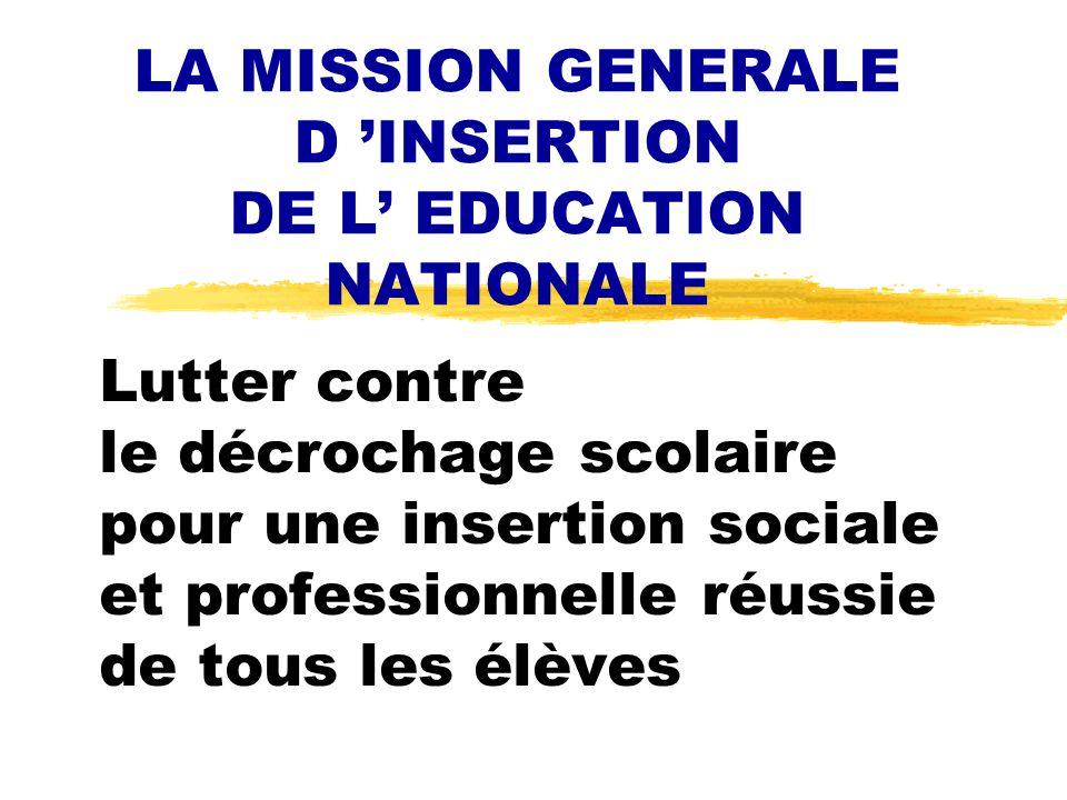 Lutter contre le décrochage scolaire pour une insertion sociale et professionnelle réussie de tous les élèves LA MISSION GENERALE D INSERTION DE L EDU