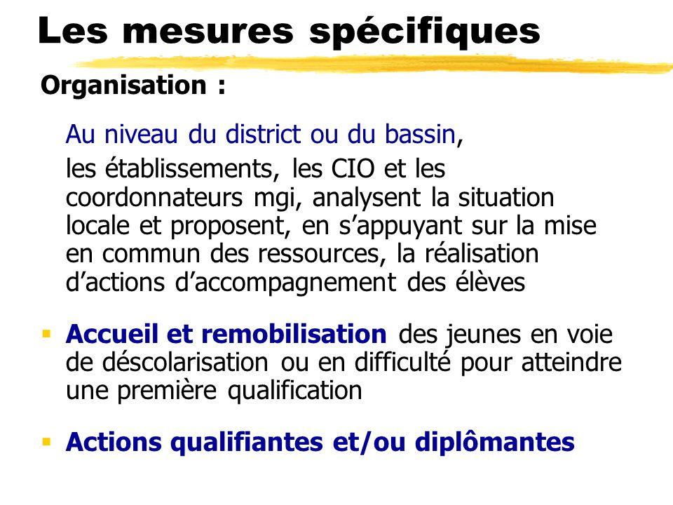 Les mesures spécifiques Organisation : Au niveau du district ou du bassin, les établissements, les CIO et les coordonnateurs mgi, analysent la situati