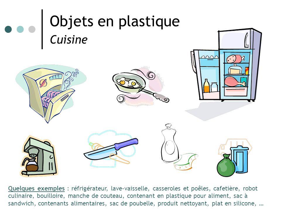 Objets en plastique Cuisine Quelques exemples : réfrigérateur, lave-vaisselle, casseroles et poêles, cafetière, robot culinaire, bouilloire, manche de