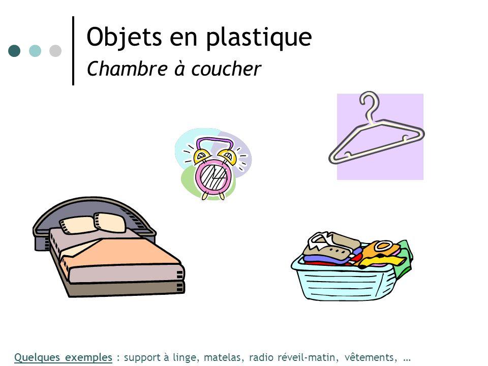 Objets en plastique Chambre à coucher Quelques exemples : support à linge, matelas, radio réveil-matin, vêtements, …