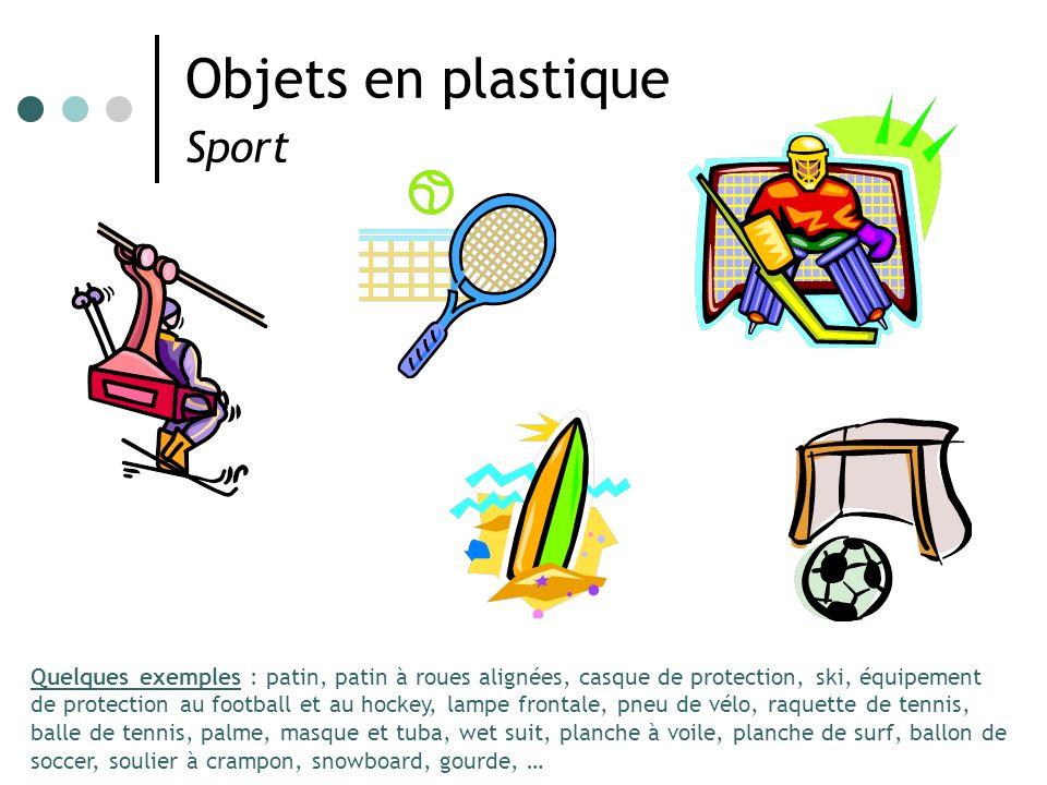 Objets en plastique Sport Quelques exemples : patin, patin à roues alignées, casque de protection, ski, équipement de protection au football et au hoc